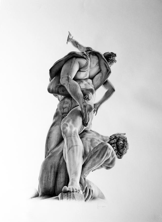 dibujo a lápiz de una escultura