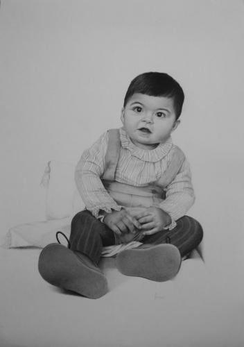 niño retrato realismo grafito