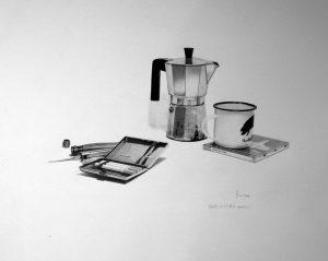 Chales, 6:45 de la mañana - lápiz sobre papel
