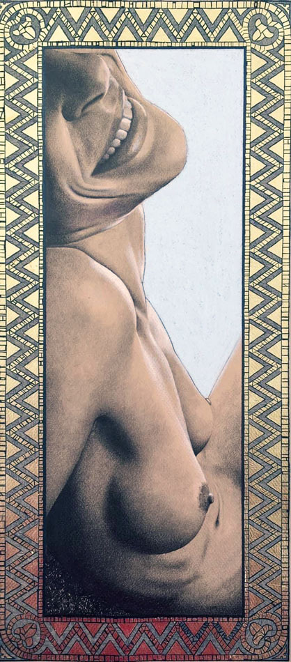 obra artística dibujo a pastel desnudo